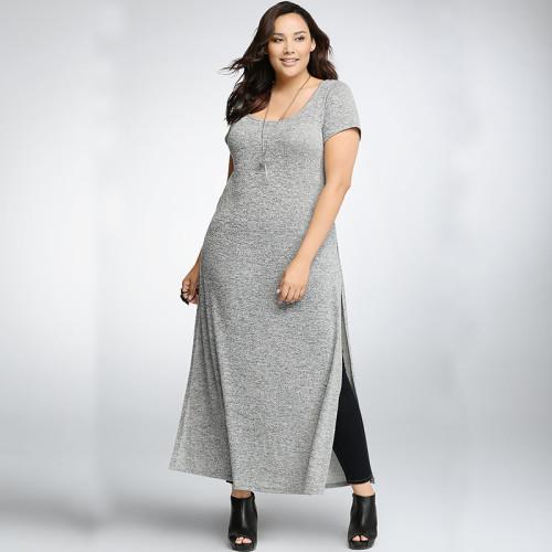 2015-New-Women-Dress-Plus-Size-Women-Clothing-Short-Sleeve-Gray-Long-T-Shirt-Dress-High